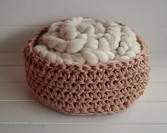 Caramel Crochet Basket- Newborn Photography Prop- Ready To Ship
