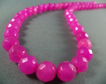 Faceted Fuchsia Crystal Beads - 8mm - 15 Inch Strand