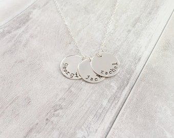 Name Disc Necklace in Sterling Silver