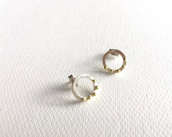 Silver circle earrings with gold granules