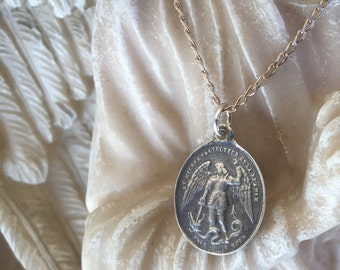 Saint Michael the Archangel Angel Medal Blessed Mother Confirmation Medal First Communion Men's necklace Vintage Medal Women's necklace