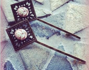 Floral Pink Antiqued Brass Filigree Bobby Pin Set
