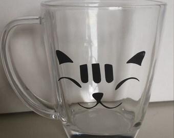 Kitty Cat Face Clear Glass Mug