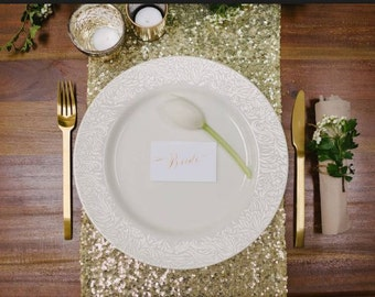 Light Gold Sequin Table Runner, 12 Table Runners For Wedding, Table Runner Gold, Gold Table Overlay, Sequin Table Overlay, Table Runner Gold