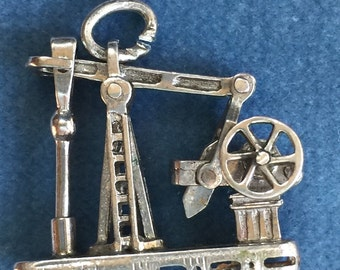 Vintage Sterling Oil Derrick Charm; Movable Charm; Wells Sterling