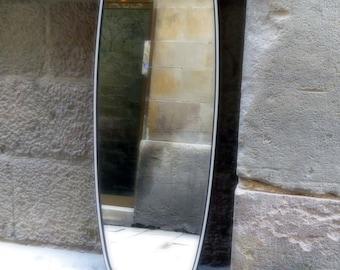 Vintage 50's mirror with black & white rim