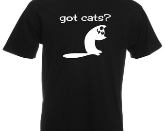 Mens T-Shirt with Cute Cat and Quote Got Cats? Design / Funny Kitty Shirts / Smiling Kitten Shirt + Free Random Decal Gift