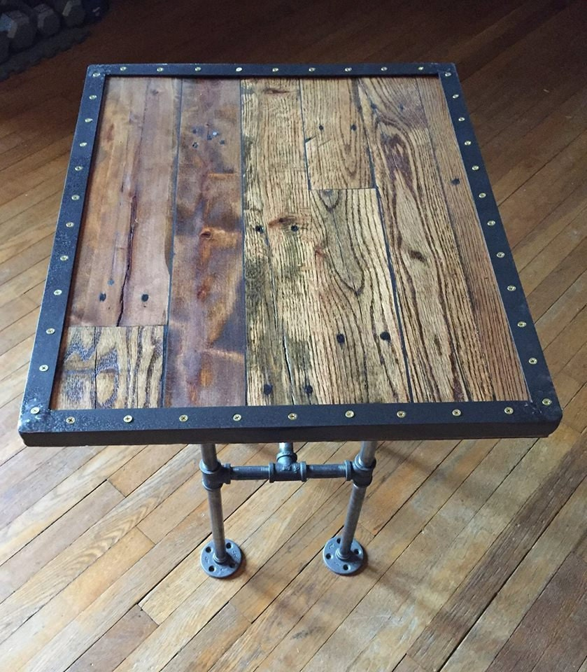 Rustic refuge pallet end table with iron pipe legs for Rustic iron table legs