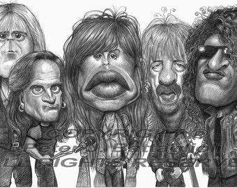 Aerosmith Poster Caricature Art Print