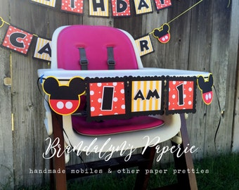 Mickey Mouse Birthday I am 1 banner, I am one, High chair banner