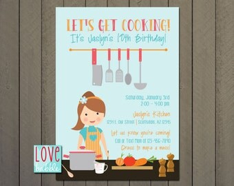 Kitchen party etsy cooking baking kitchen party kitchen bridal shower cooking class invitation printable digital file stopboris Image collections