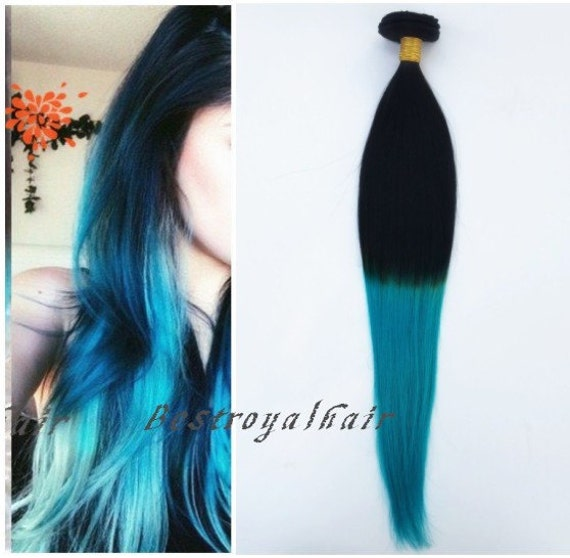 black to turquoise ombre hair - photo #4