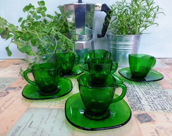 Six Vintage Vereco Glass Espresso Cups and Saucers - Vereco France Green Glass