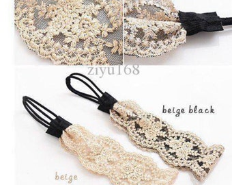 Whild lace elastic hairbnad embroidery kniting headband