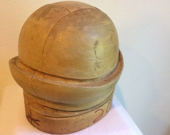 Vintage Derby Millinery Hat Form Solid Wood Hat Block Form Mold