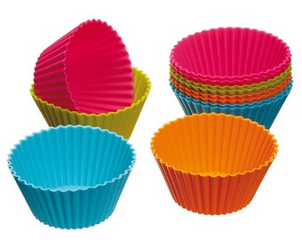 Lot of 12 PCS Cake Cup Kitchen Craft Colour works Silicone Cupcake liners baking cups fondant mold Cases