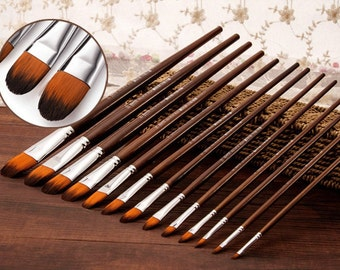 High Quality Lot of 13 Pcs Long Handle Filbert Shape Brass Ferrules Artist Paint Brushes Set Brush Watercolor Oil Acrylic Gouache Painting