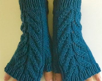 Hand knit navy blue fingerless mitts, blue merino fingerless gloves. Hand knit gift, ready to ship.