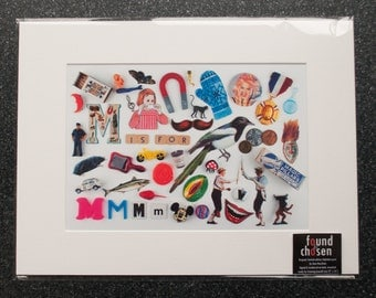 Limited Edition Alphabet Collage Print With Mount: M Is For...  Original, Vintage-Themed, Unframed