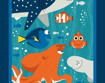 Finding Dory and and Friends Panel Cotton Woven on Aqua by Springs Creative