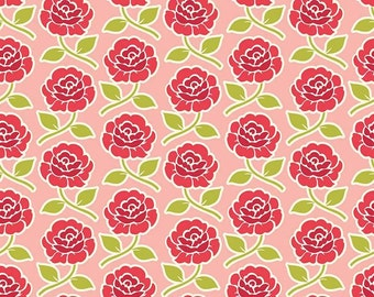 Farm Girl Rose Trellis Pink Cotton Fabric