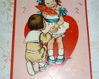 Little Boy Down on His Knee Professing His Love To His Girl Antique Valentine Embossed Postcard