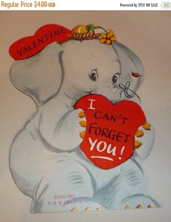 Valentines Day Elephants Vintage Cards | Valentine's Day Wikii