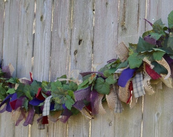 Grape Ivy Garland in Purple, Merlot, Green and Gold, Grape Leaf Floral Wine Decor