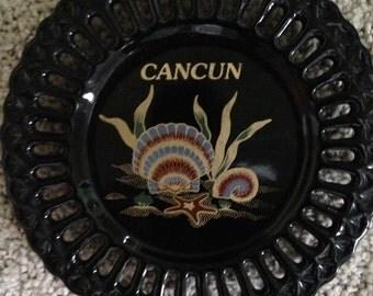 Cancun Mexico Souvenir Glass Dish