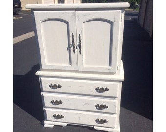 PORTFOLIO- White Distressed Shabby Chic Dresser/Armoire
