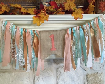 Peach Mint Gold party decor Rag Garland Banner Highchair Banner -  First birthday Rustic shabby chic Bunting - Wedding Shower Baby shower