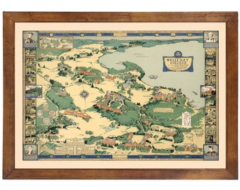 Wellesley College Pictorial Map ... Published in 1943; 24x36 Print on Photo Paper
