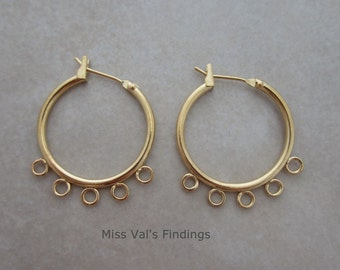 10 gold plated ear hoops with beading loops