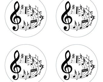 Music Notes Edible Cupcake Topper Decorations - Set of 12 Toppers