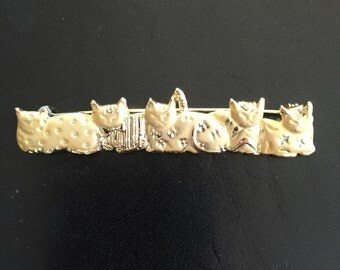 Vintage AJC Five Cats Pin