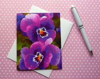 Waterlogue Purple Pansies note card, blank inside, hand made, fine art, 4-1/4x5-1/2