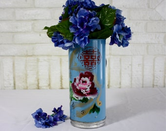 Vintage Hand Painted Chinese Ruby Rose on Sky Blue Metal Thermos Body | Missing Insert | Cottage Chic Retro Vase Brolly Stand