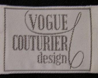 VOGUE Couturier Design Sew-In Label For Designer Sewing Patterns Fabric Labels Vintage Rare