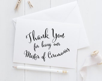 Master of Ceremonies thank you wedding day card, MC wedding note card, on our wedding day, bridal party cards, wedding party card