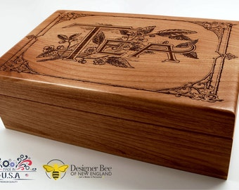 Vintage Design Engraved Tea Box - Store and Serve Your Favorite Teas in Style! 100% Made in USA from Premium White Alder in Heirloom Quality