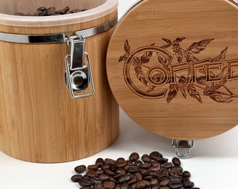 Coffee Canister - Vintage Engraving on Quality Bamboo Canister - Great  Gift for Coffee Lovers!