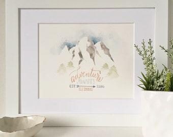Adventure Awaits Nursery Art, Adventure Theme Nursery, Travel Theme Nusery, World Travel Art, Adventure Art Print 8x10