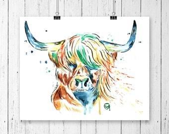 HIGHLAND COW PRINT, Highland Cow art, Highland Cow watercolour, Cow art. cow print, cow watercolour, watercolor, Scottish art, scotland