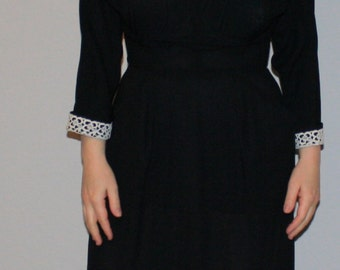 Vintage Little Black Dress with Lace Peter pan collar and pockets, Small, Kerry Brooke 1950s