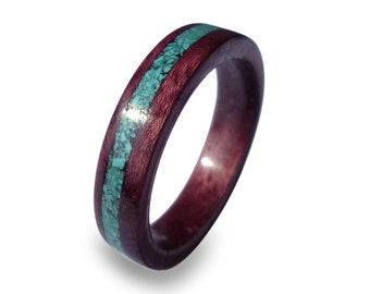 Handmade Purple Heart Ring, Women's Amaranth Wood Ring with Turquoise Inlay