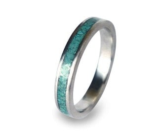 Womens Wedding Ring, Women's stainless steel ring with turquoise inlay, engagement ring for her