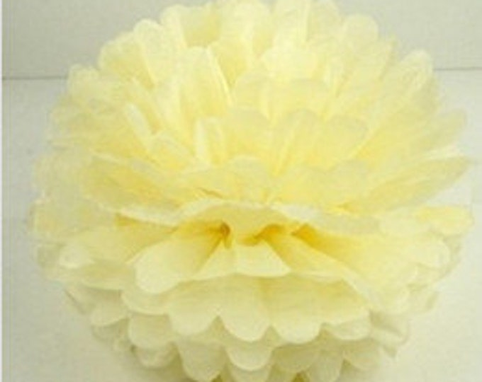 Pale Yellow Tissue Paper Pom, Pale Yellow Pom, Yellow Tissue Paper Pom Pom, Light Yellow Pom, Tissue Flower, Wedding and Birthday Decor