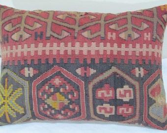 "turkish  kilim pillow cover 14""x20""kilim pillow-vintage pillow"