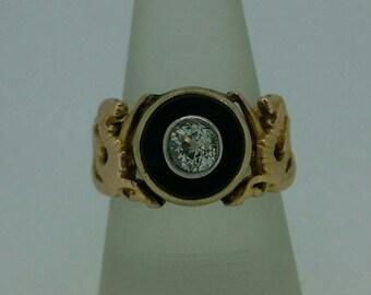Vintage 18K Black Onyx and Diamond Ring