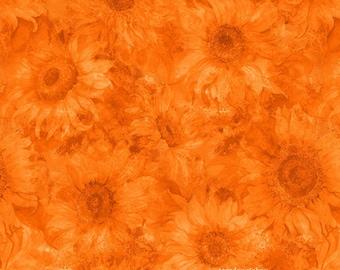 Orange Sunflower Fabric, Slice of Sunshine, Wilmington Prints 79256-888,Sunflower Quilt Fabric, Orange Floral Fabric, Cotton
